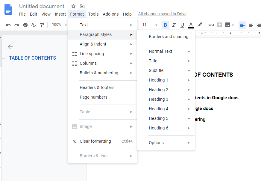 add table of contents in google docs