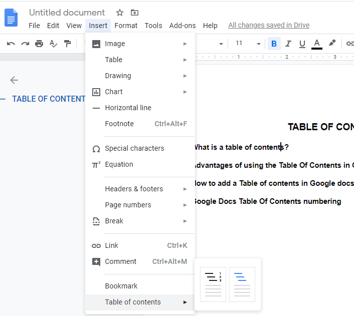 how to add table of contents in google docs
