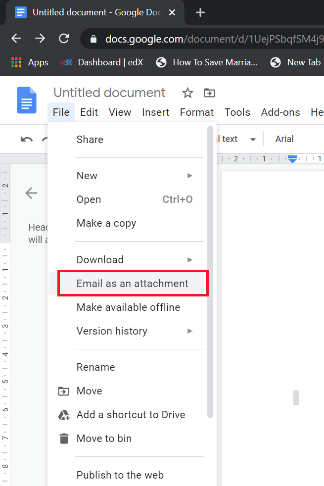 how to attach a google doc to an email