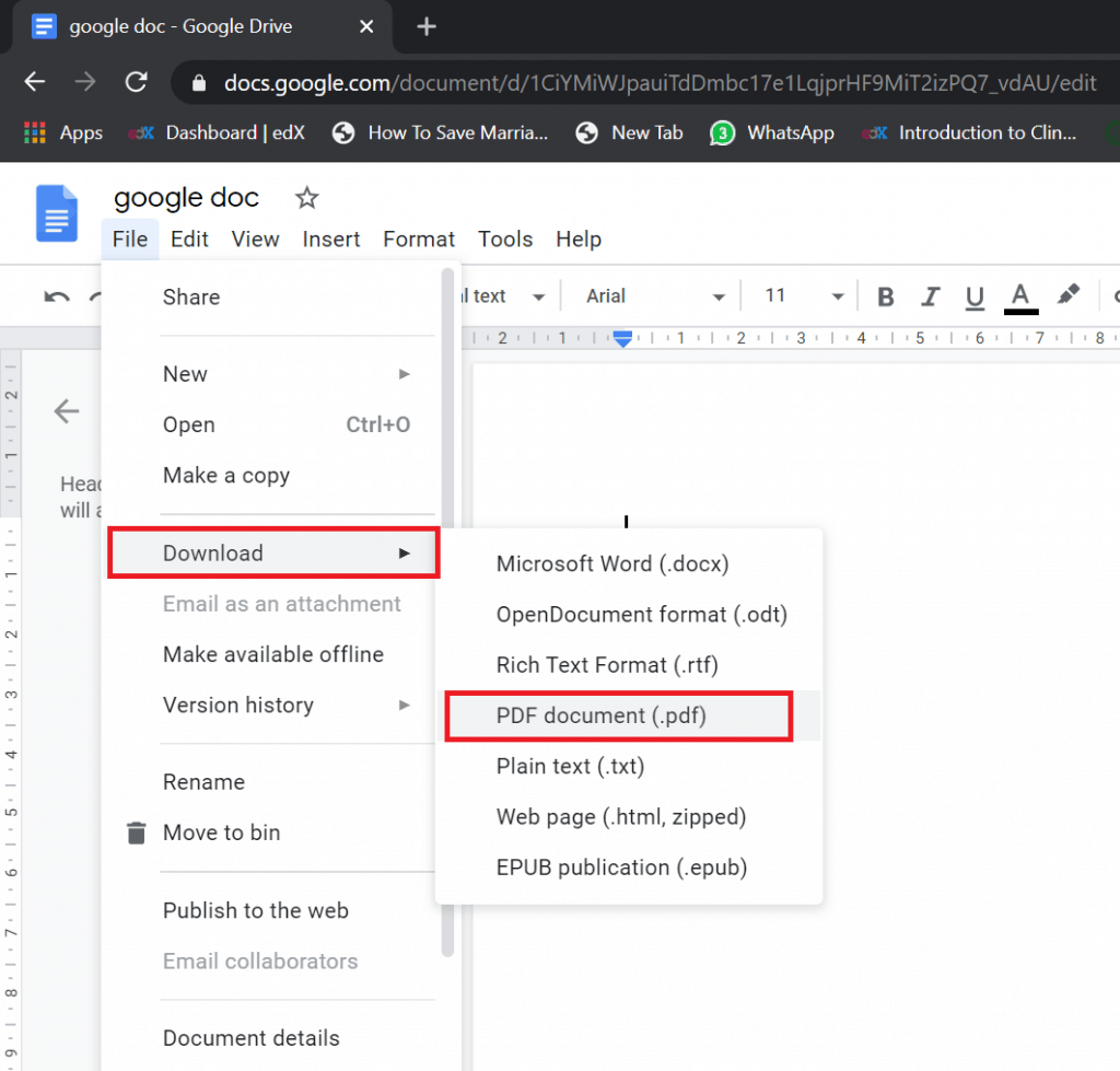 how to save google docs as pdf file