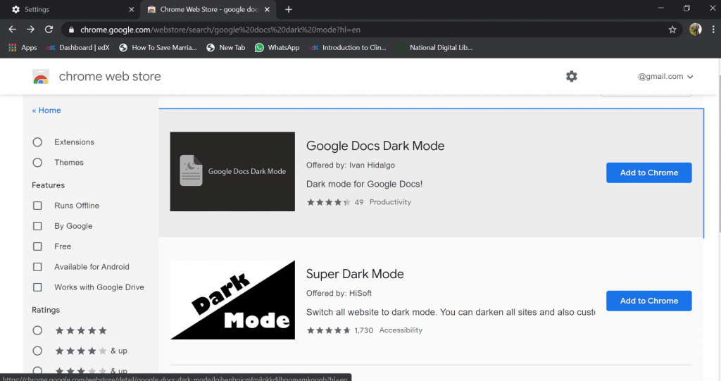 google docs dark mode theme
