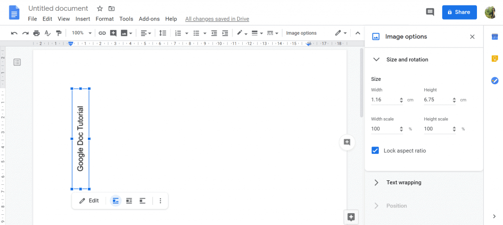 how to edit vertical text in google docs