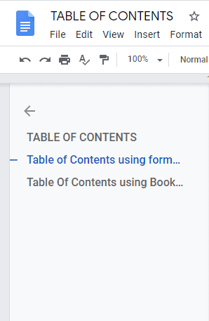 table of contents google docs template
