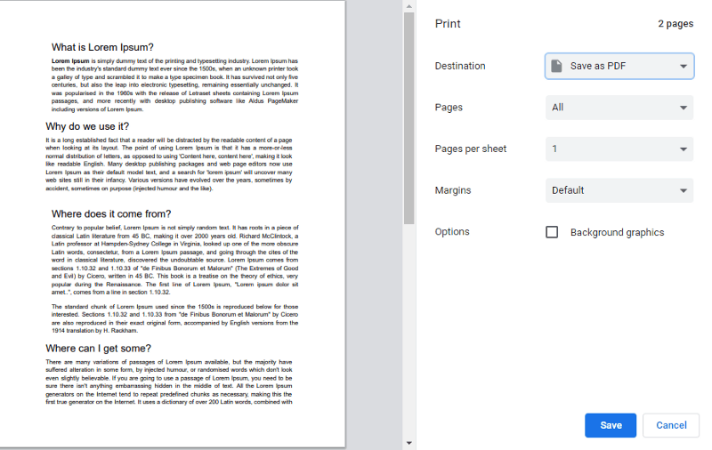 Online Google docs to PDF convertor