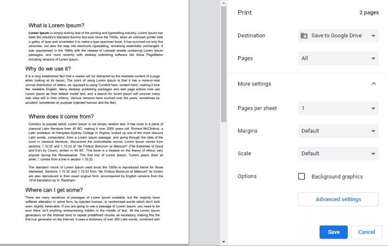 Convert google docs to PDF using Save to Google drive