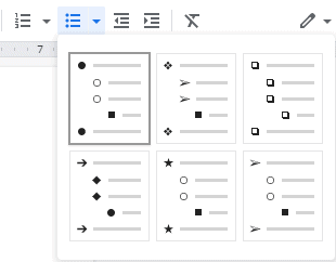 Google Docs Bulleted List
