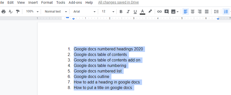 Google Docs Heading numbering