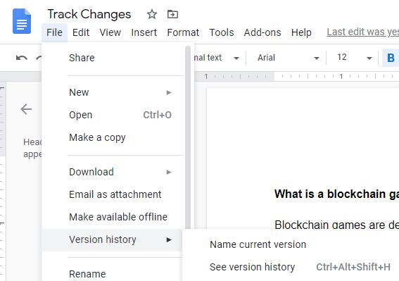 Google docs track changes