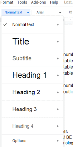 How to add a heading in google docs