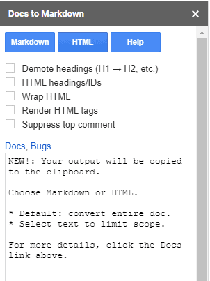 How to convert a Google Doc to html