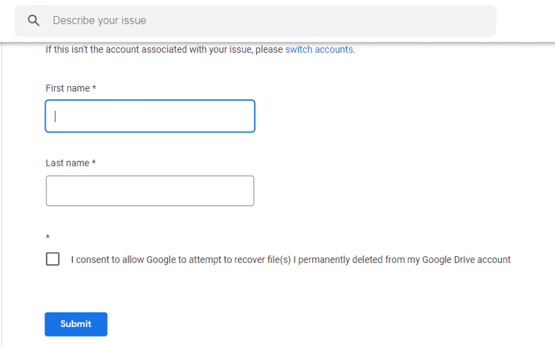 Where are Google docs Bin