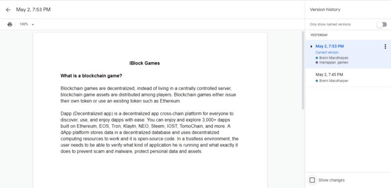 google docs add version control