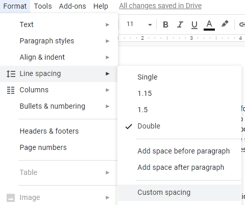google docs horizontal line spacing