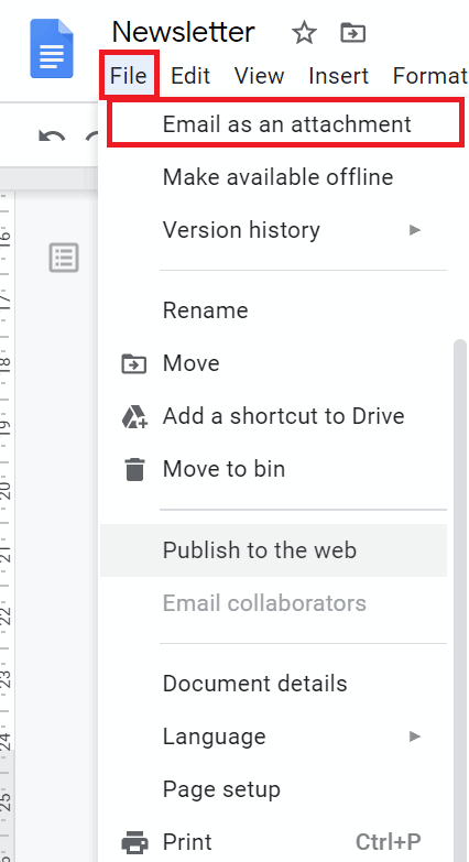 newsletter format google docs