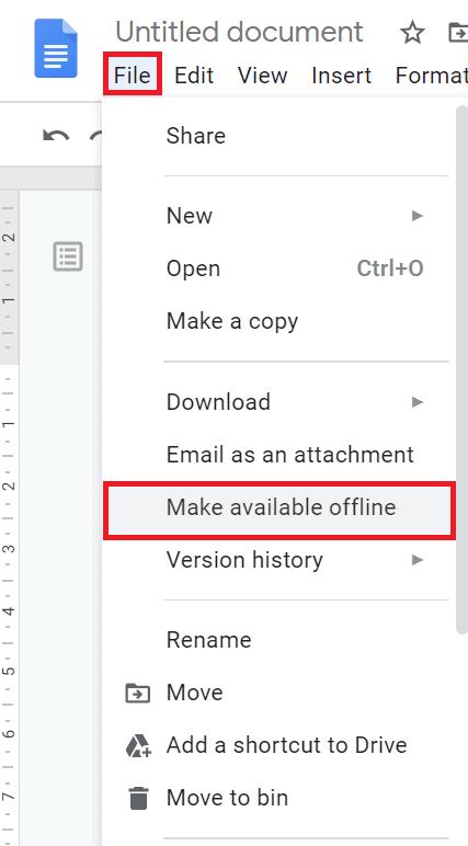 Make google docs available offline