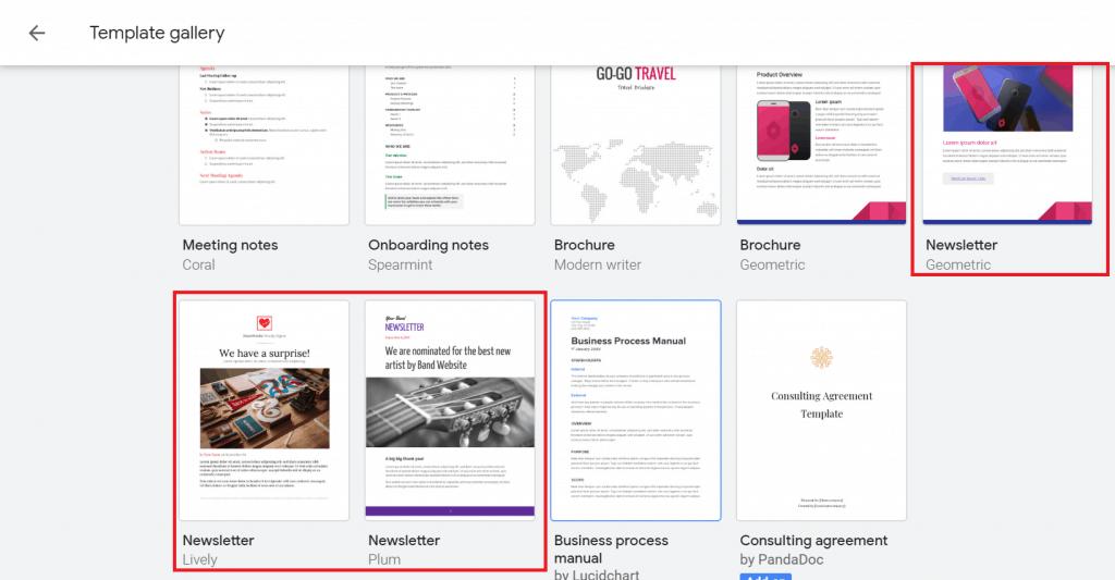 newsletter template google docs free