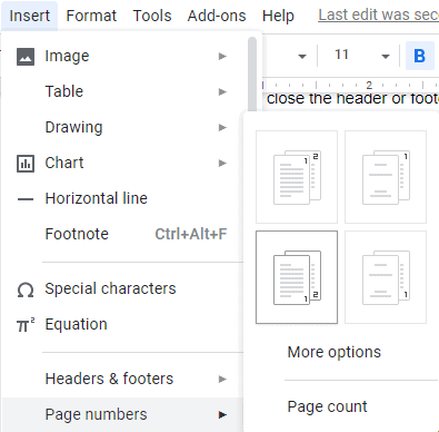 Add page numbers to a header or footer