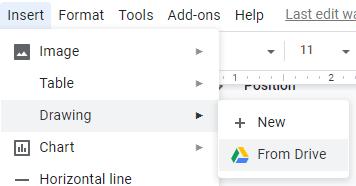 Google Docs word art using Google Drawings