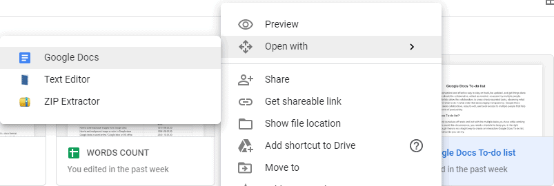 How to Open Docx file with Google Docs directly on the search engine