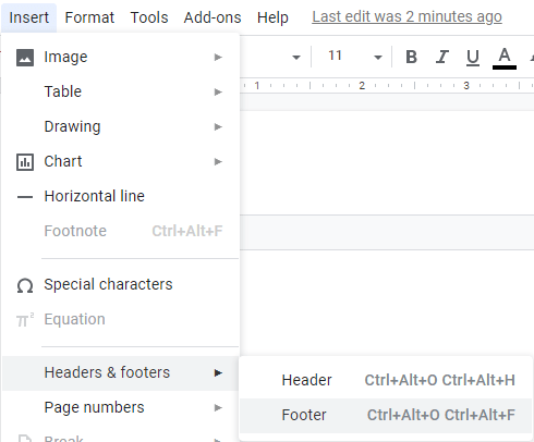 How to add Footers in Google Docs