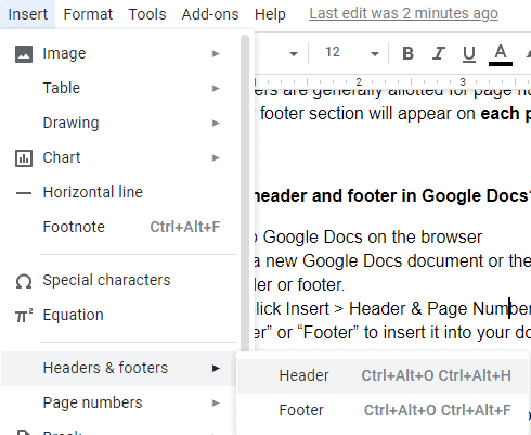 How to add header and footer in Google Docs