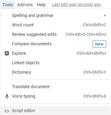 Script editor in Google Docs