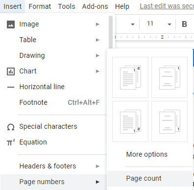 display page count in Google Docs Footer