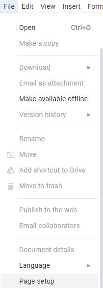 Change Google docs background