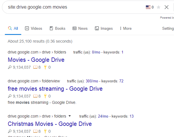 How to find movies on google drive