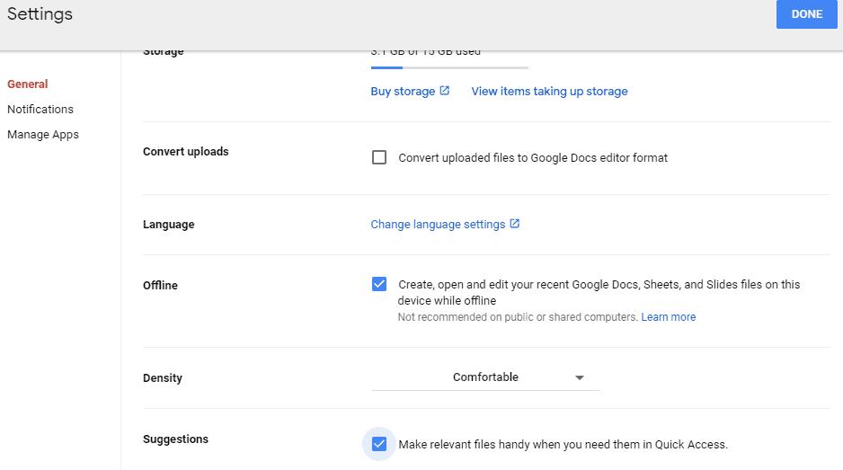 remove quick access in google drive