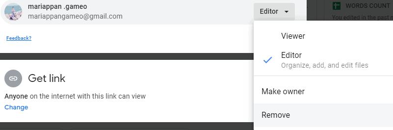 unshare a Google Drive folder