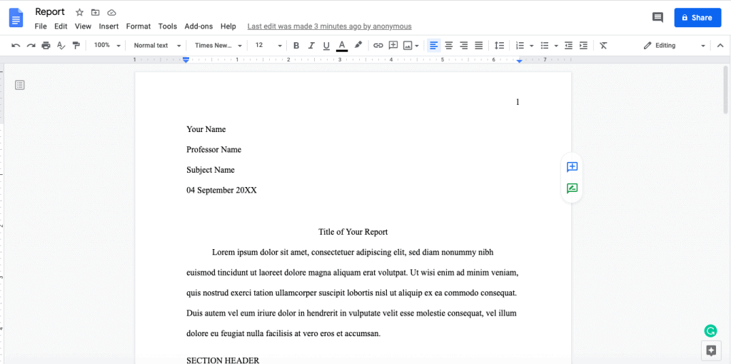 How to use MLA format on Google docs