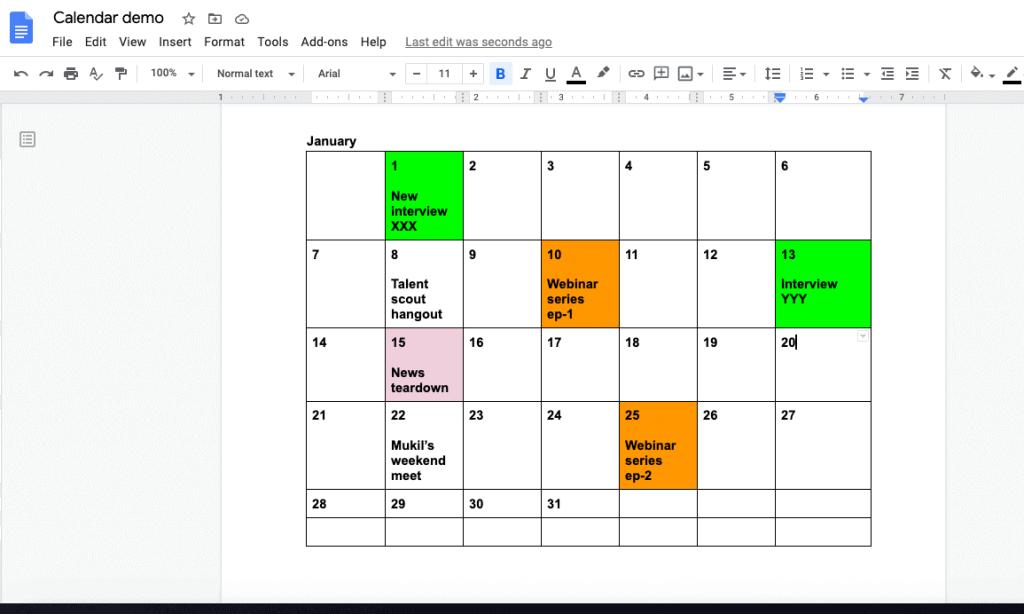 create a calendar in google docs