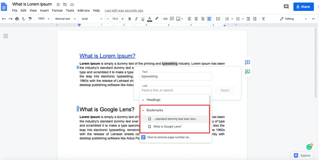 create google docs bookmark
