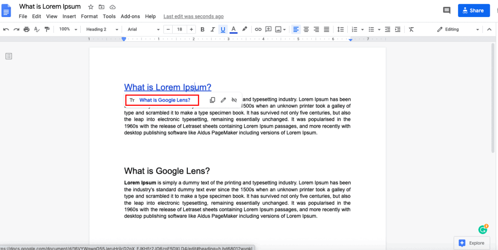 docs link to bookmark in another document