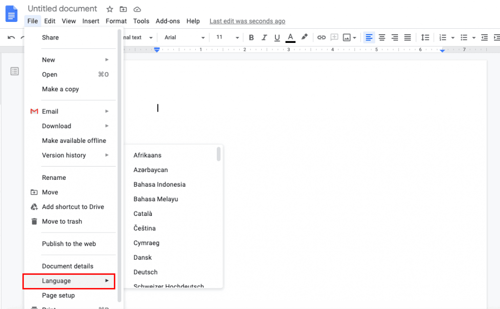 how to change language in google docs