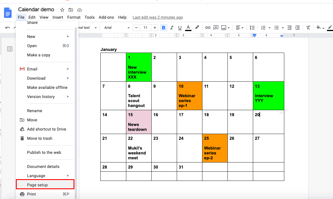 google docs calendar