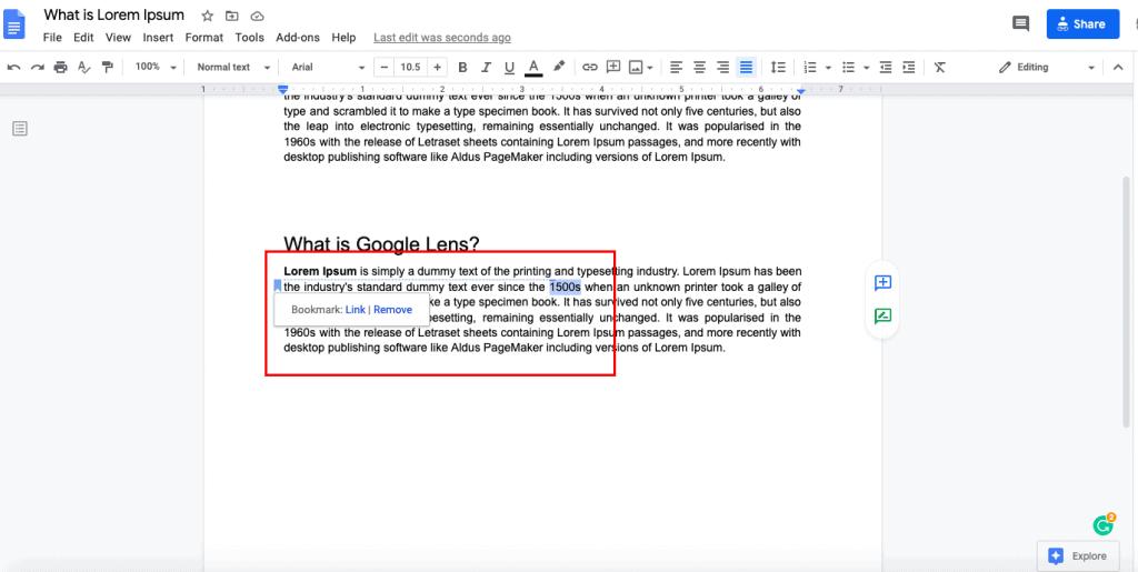 how to create google docs bookmark