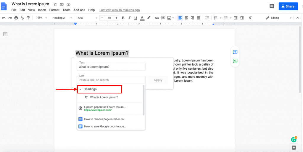 how to link within document in google docs