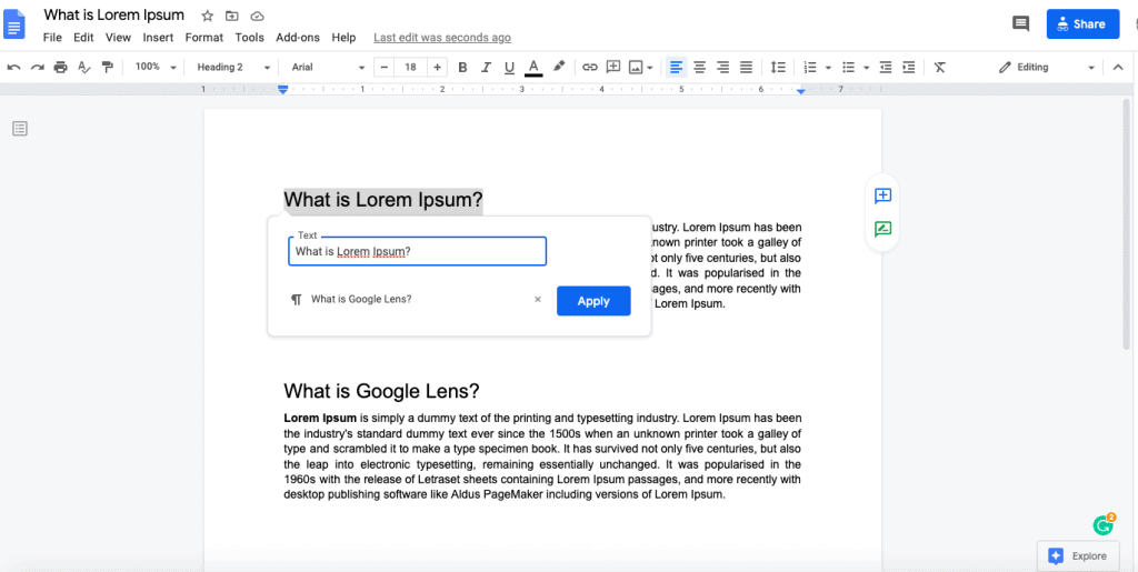 link within document in google docs