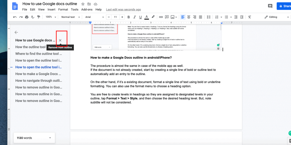 remove outlines in Google Docs on web