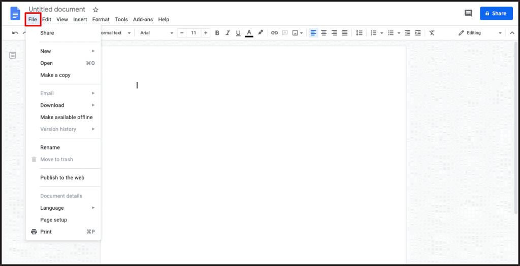 change Google Docs Language