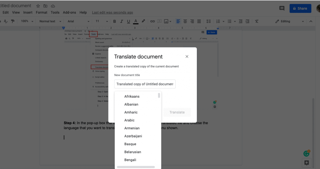 How to translate Google docs