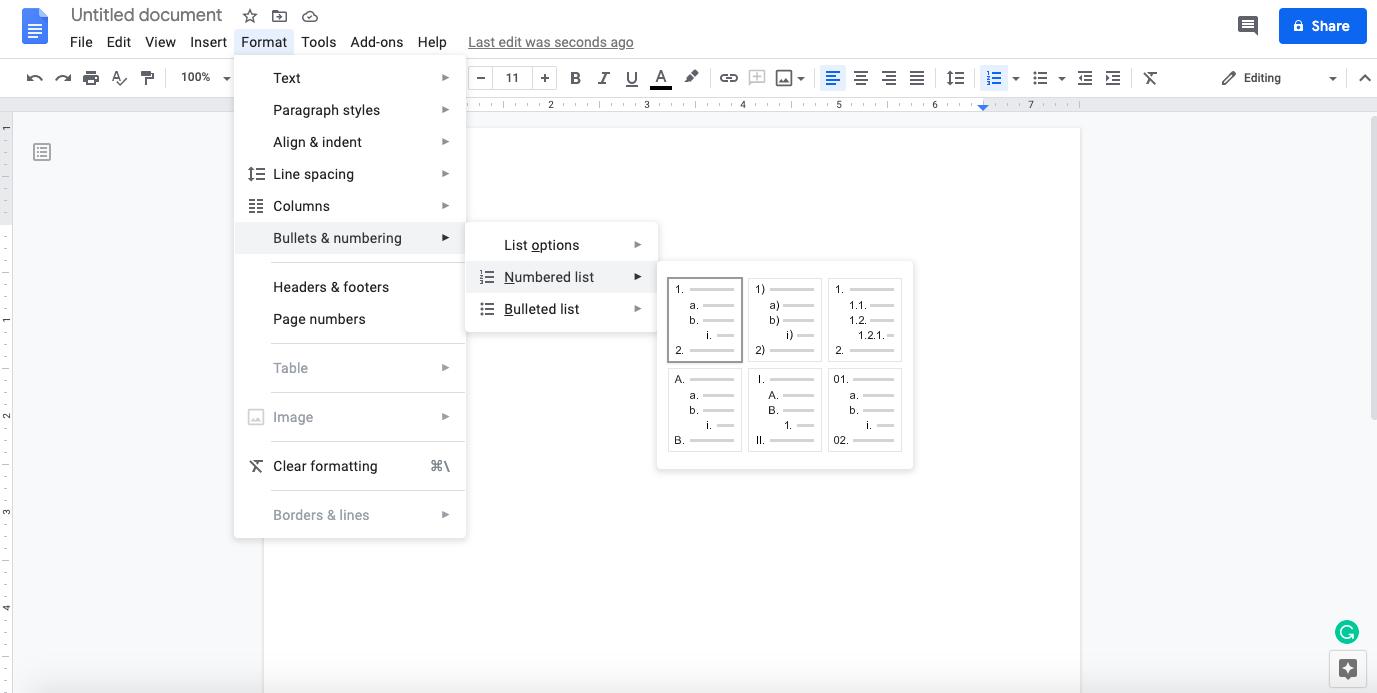 Google Docs numbered list