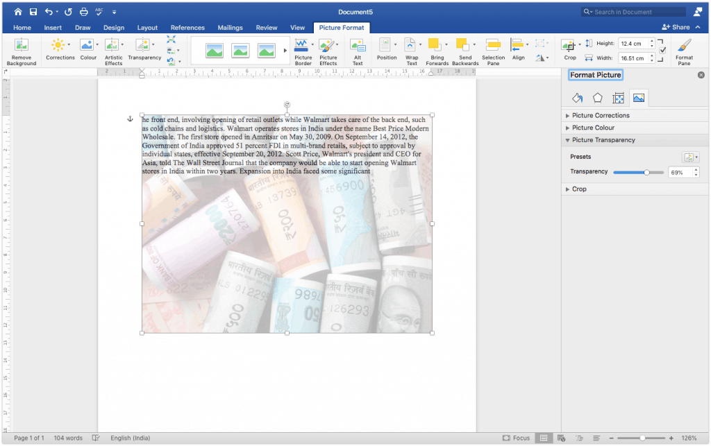 How to insert an image behind the text in Google docs
