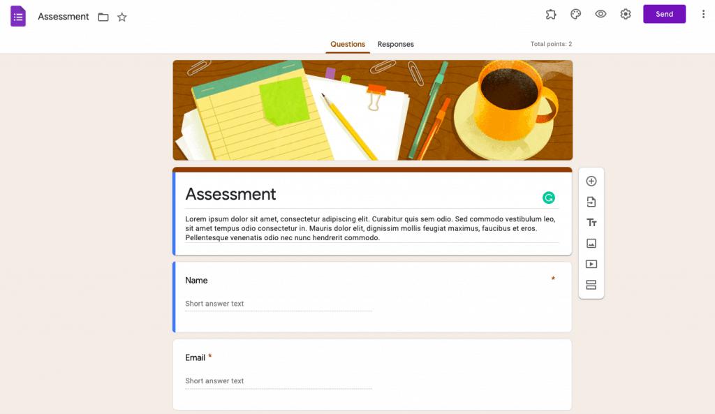 making a google docs questionnaire