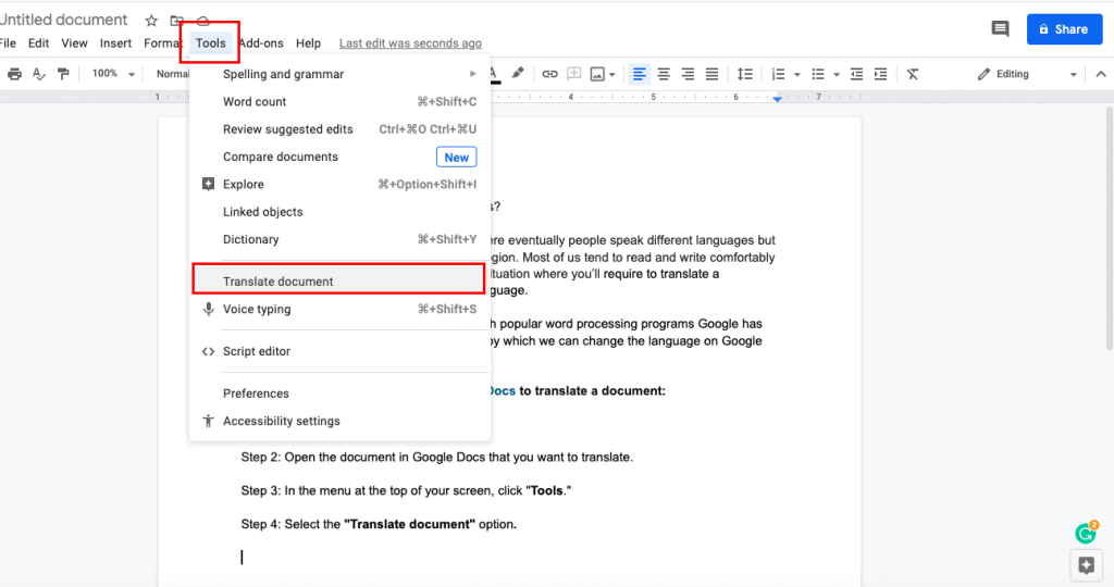 translate Google docs