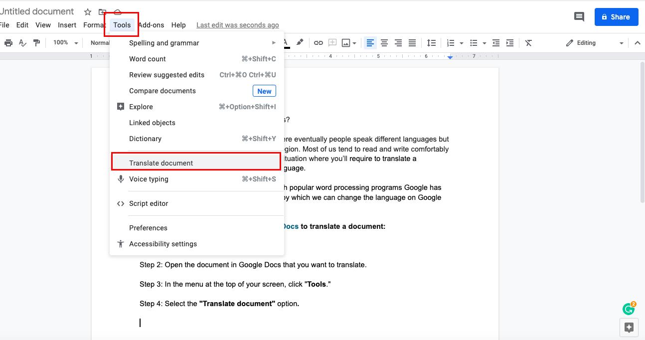 How to translate Google docs