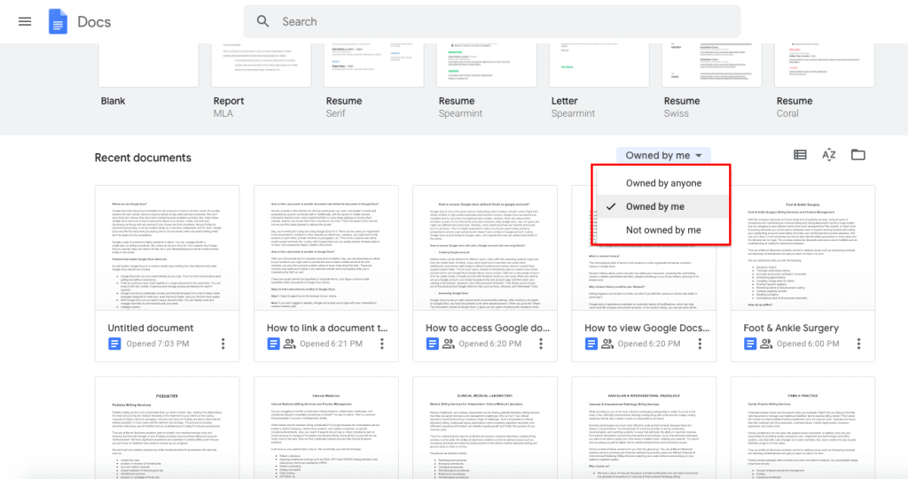 where are your Google Docs that are not owned by you