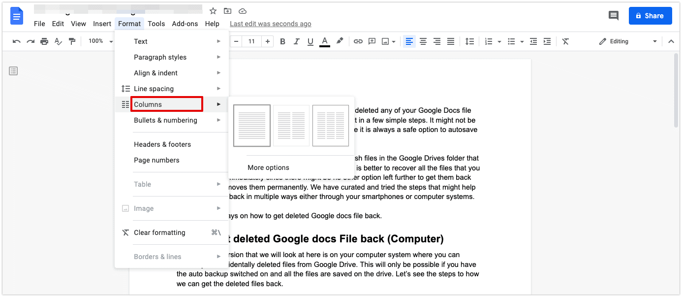 How to make multiple columns in Google Docs
